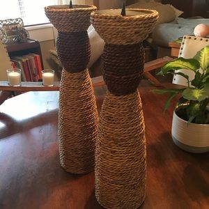 Braided Rope Candle Holders- Set of Two